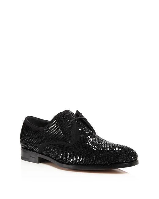 Ferragamo | Black Dennis 2 Crystal Derby Shoes for Men | Lyst