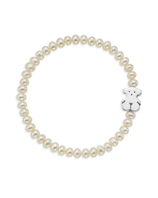 Tous | White Cultured Freshwater Pearl Bear Charm Bracelet | Lyst