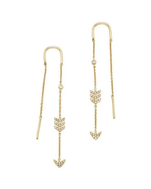 KC Designs | White 14k Yellow Gold Diamond Micro Pavé Drop Chain Earrings | Lyst