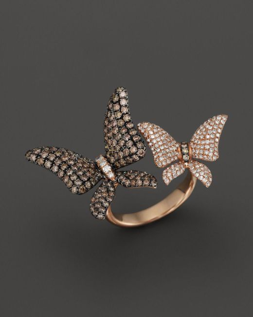 Bloomingdale's - Brown And White Diamond Butterfly Statement Ring In 14k Rose Gold - Lyst