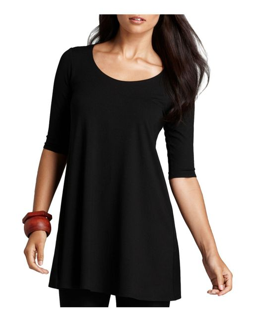 Eileen Fisher - Black Elbow Sleeve Tunic - Lyst