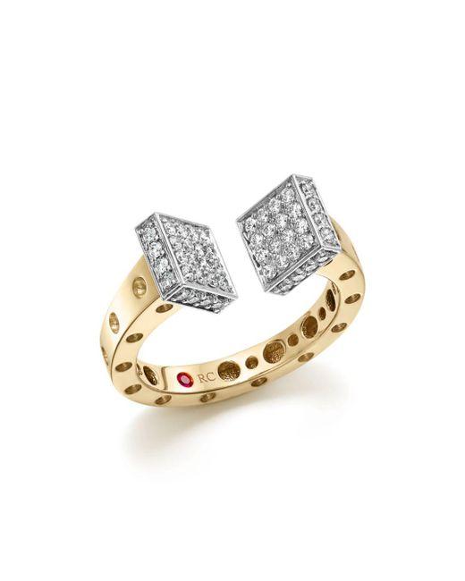 Roberto Coin - Metallic 18k White And Yellow Gold Pois Moi Chiodo Ring With Diamonds - Lyst