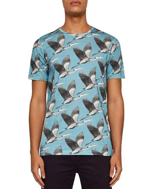 Ted Baker - Blue Flute Bird Print Tee for Men - Lyst