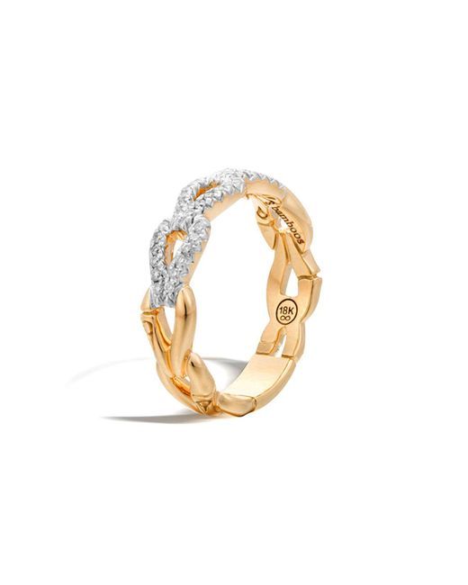 John Hardy | Metallic Bamboo 18k Gold And Diamond Link Ring | Lyst
