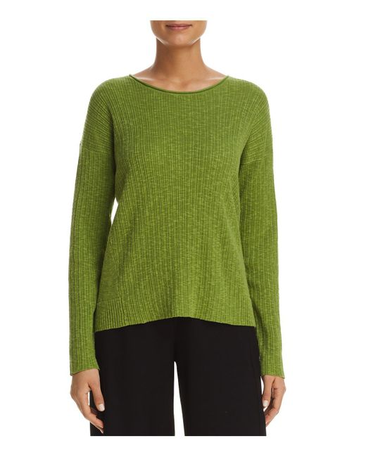 Eileen Fisher | Green Ribbed Top | Lyst