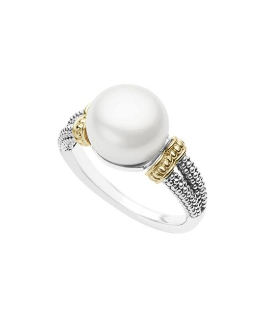 Lagos - White 18k Gold And Sterling Silver Luna Ring With Cultured Freshwater Pearl - Lyst