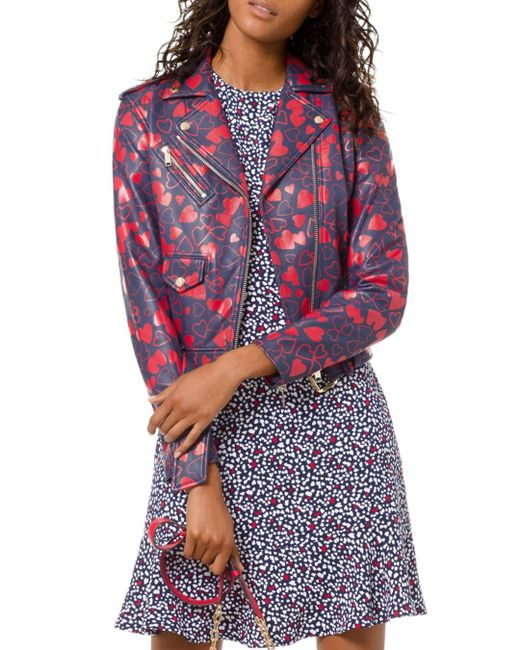 MICHAEL Michael Kors - Multicolor Heart-print Leather Moto Jacket - Lyst