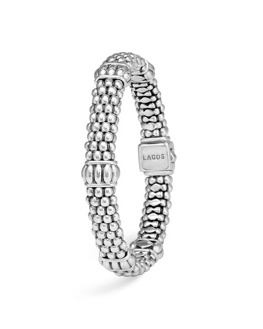Lagos | Metallic Signature Sterling Silver Fluted Station Caviar Bracelet | Lyst