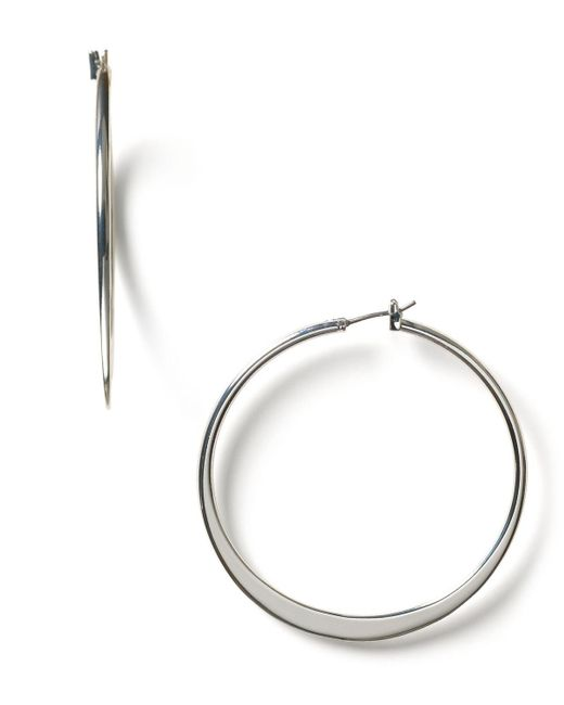 Pink Pony | Metallic Lauren By Large Knife Edge Hoop Earrings | Lyst