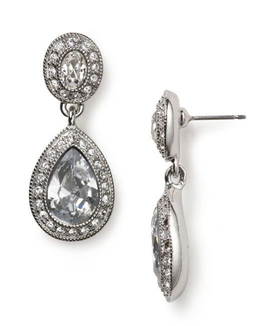 Carolee - Blue Pave Stone Double Drop Earrings - Lyst