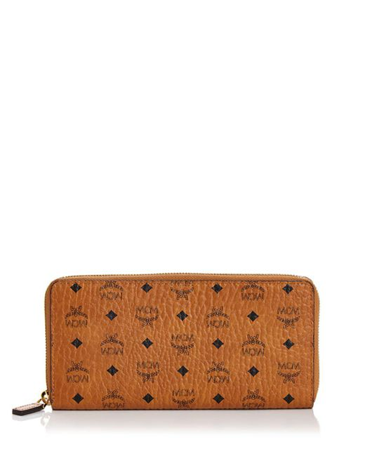 MCM - Brown Zip Around Large Leather And Canvas Wallet - Lyst
