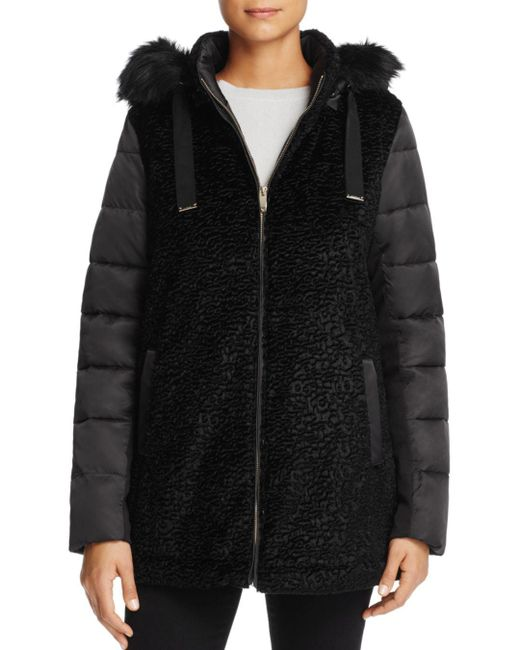 Via Spiga - Black Mixed Media Coat - Lyst