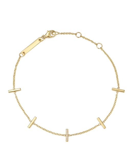 Zoe Chicco - Metallic 14k Yellow Gold Vertical Tiny Pavé Diamond Bar Bracelet - Lyst