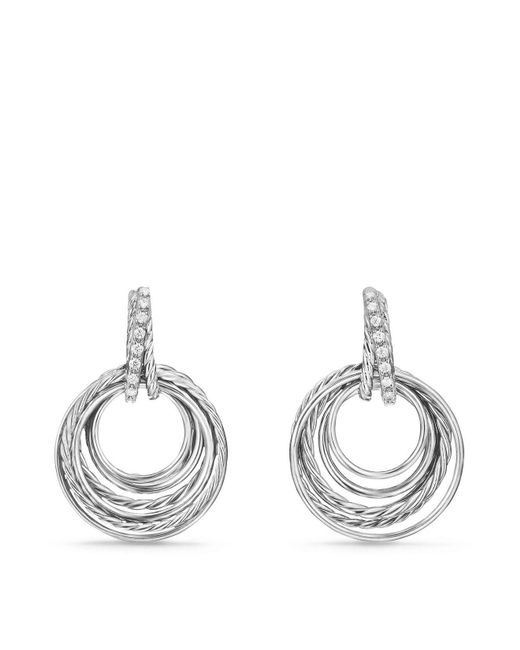 David Yurman | Metallic Crossover Drop Earrings With Diamonds | Lyst