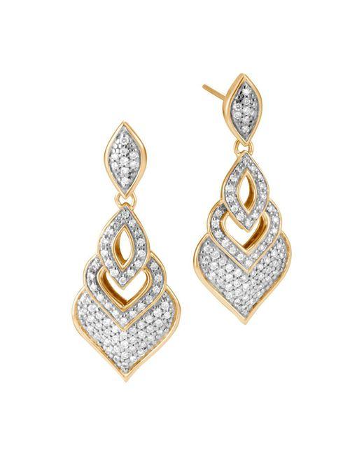 John Hardy - Metallic 18k Yellow Gold Legends Naga Pavé Diamond Drop Earrings - Lyst