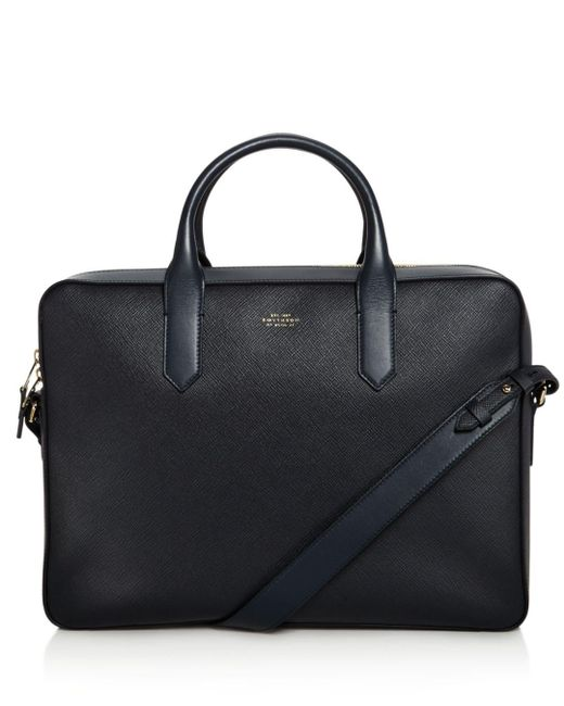 Smythson - Black Panama Leather Slim Briefcase for Men - Lyst