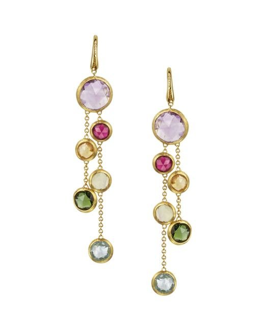 Marco Bicego | Metallic Jaipur 18k Yellow Gold And Multi-stone Double Drop Earrings | Lyst