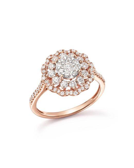Bloomingdale's - Multicolor Diamond Flower Burst Statement Ring In 14k Rose Gold, 1.0 Ct. T.w. - Lyst