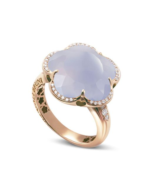 Pasquale Bruni - Multicolor 18k Rose Gold Bon Ton Floral Blue Chalcedony & Diamond Ring - Lyst