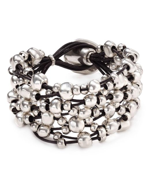 Uno De 50 - Metallic Beaded Toggle Bracelet - Lyst