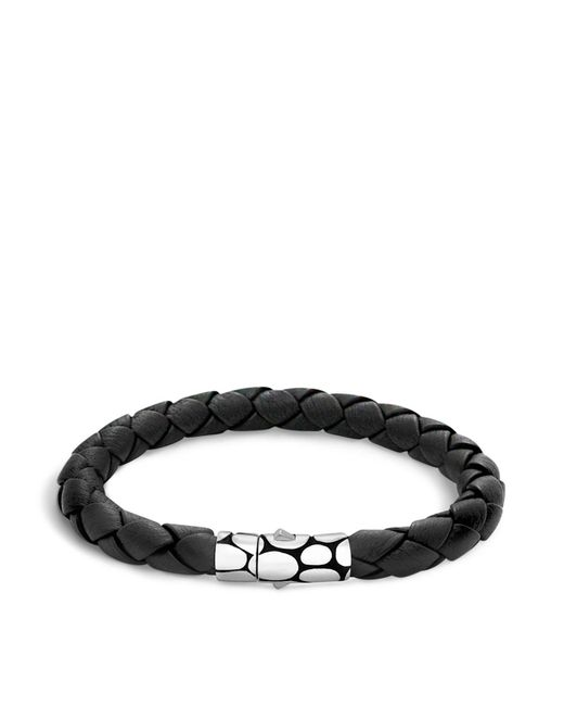 John Hardy | Men's Kali Silver Black Woven Leather Bracelet for Men | Lyst