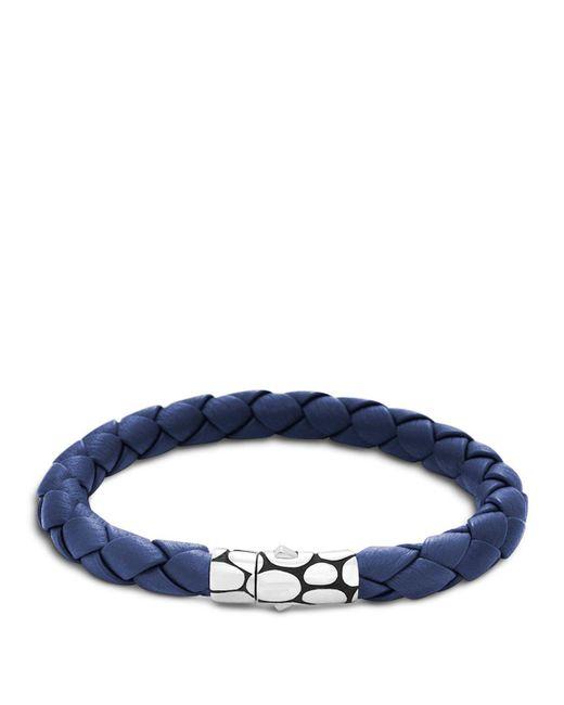 John Hardy | Men's Kali Silver Blue Woven Leather Bracelet for Men | Lyst