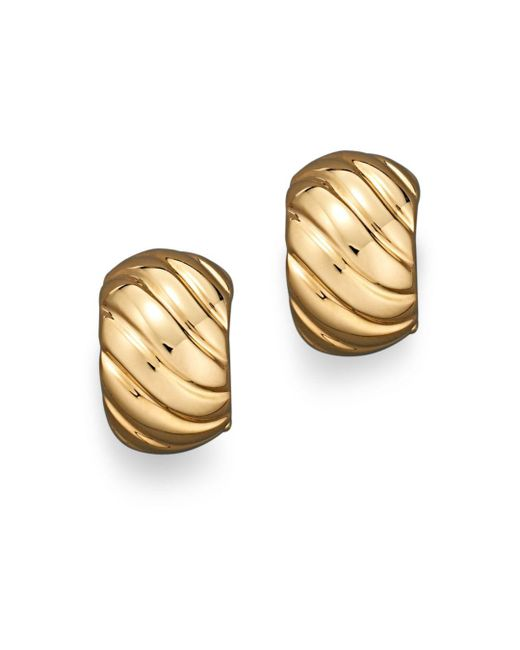 Roberto Coin - Metallic 18k Yellow Gold Ribbed Earrings - Lyst