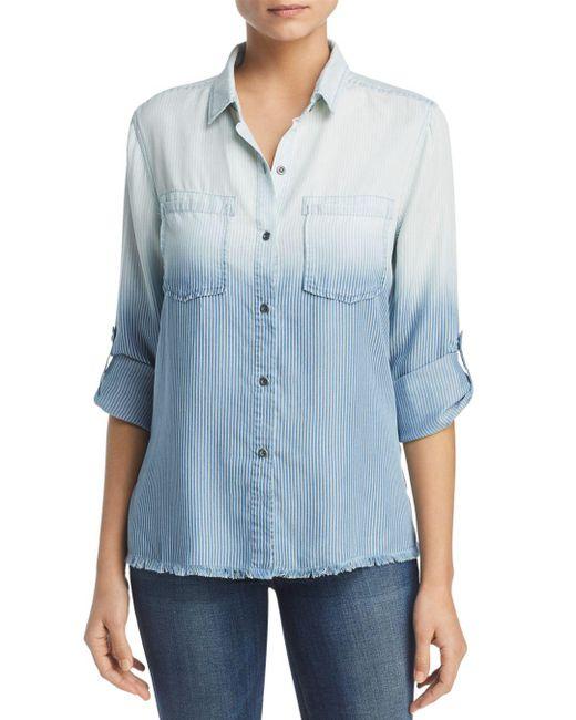 BILLY T - Blue Ombré Striped Shirt - Lyst