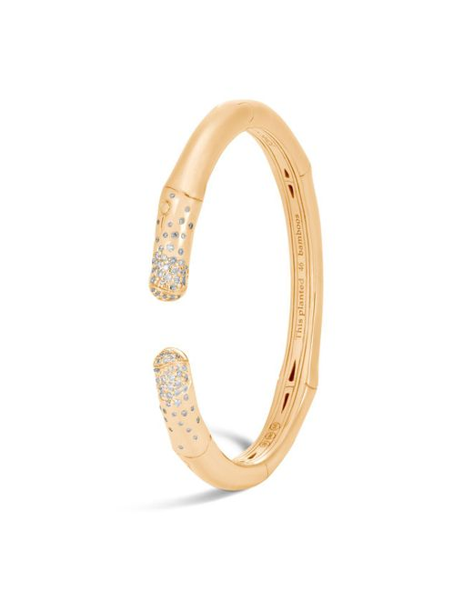 John Hardy | Metallic 18k Yellow Gold Bamboo Diamond Pavé Slim Kick Cuff | Lyst