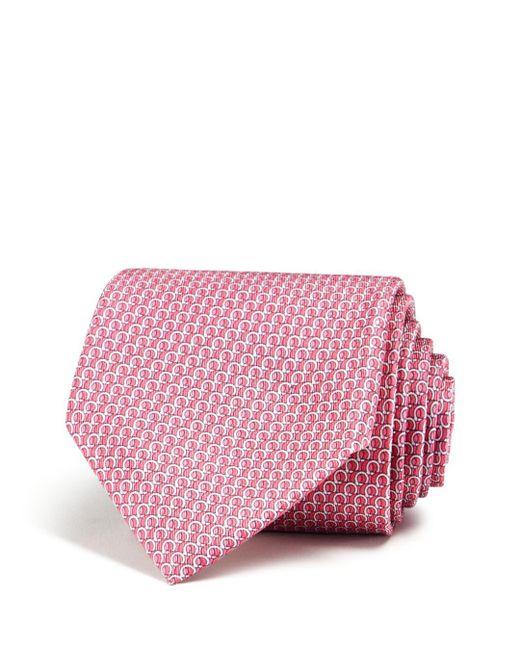 Ferragamo Pink Filo Gancini Classic Tie for men
