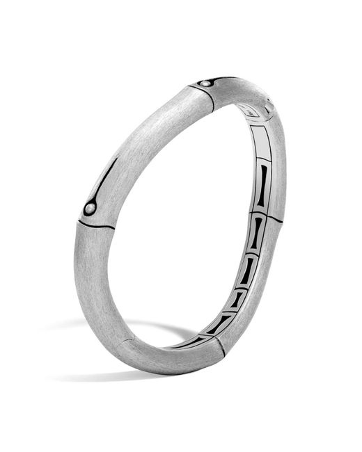 John Hardy | Metallic Brushed Sterling Silver Bamboo Curved Hinged Bangle | Lyst