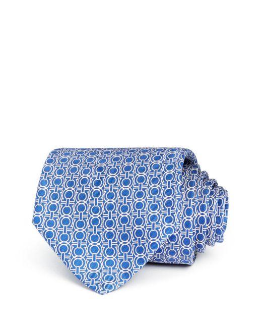Ferragamo Blue Icona Gancini Classic Silk Tie for men