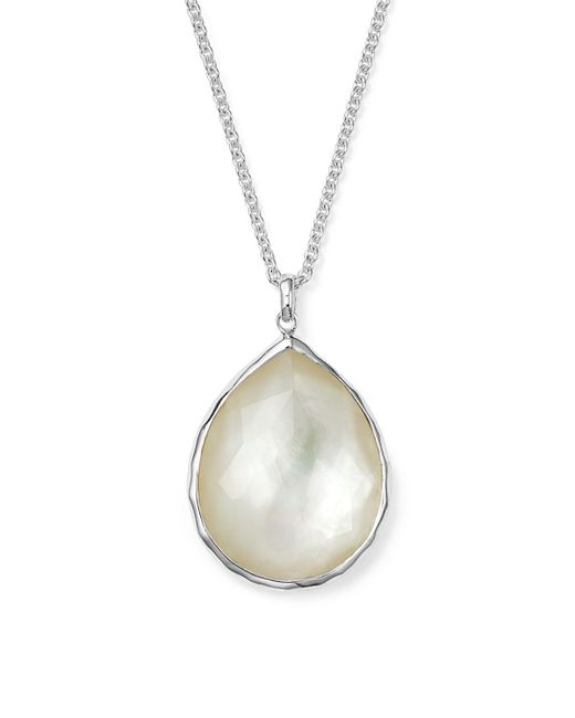 Ippolita | Metallic Sterling Silver Wonderland Large Teardrop Pendant Necklace In Mother-of-pearl, 16"