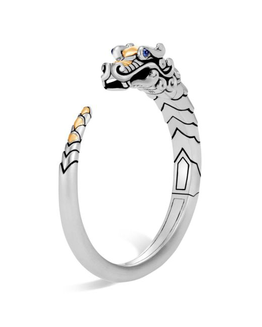John Hardy - Metallic Brushed 18k Yellow Gold And Sterling Silver Legends Naga Small Kick Cuff With Sapphire Eyes - Lyst