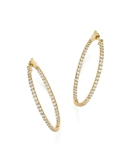 Bloomingdale's - Metallic Diamond Inside Out Hoop Earrings In 14k Yellow Gold, 2.0 Ct. T.w. - Lyst