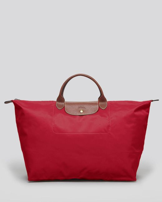Longchamp | Red Le Pliage Nylon Weekender | Lyst