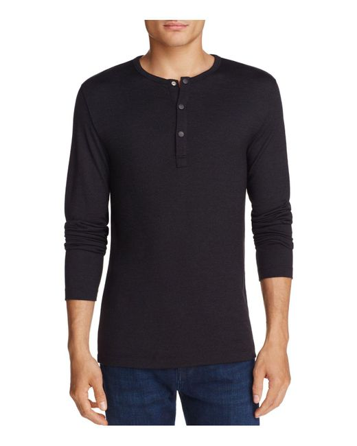 Theory | Black Long Sleeve Snapped Henley for Men | Lyst