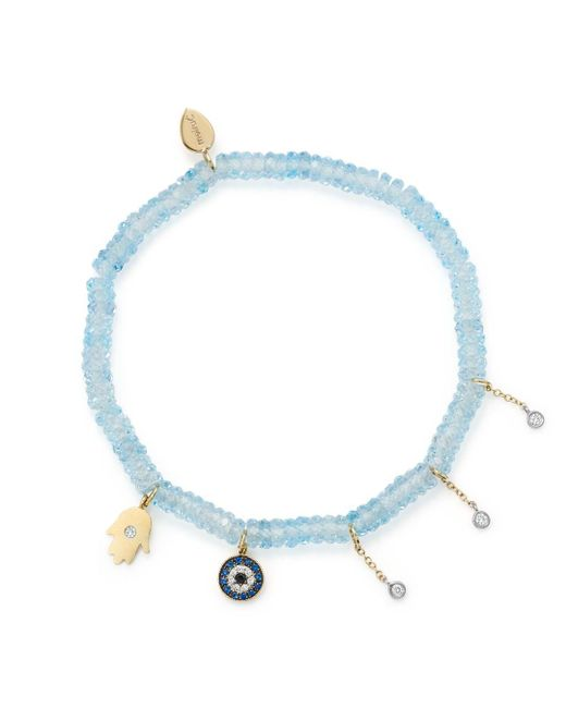 Meira T - 14k White & Yellow Gold Evil Eye & Hamsa Hand Charm Beaded Stretch Bracelet With Blue Topaz & Sapphire - Lyst