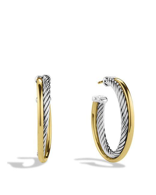 David Yurman | Metallic Crossover Medium Hoop Earrings With Gold | Lyst