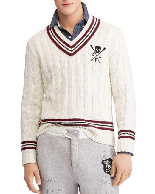 Polo Ralph Lauren - Natural V-neck Cricket Sweater for Men - Lyst