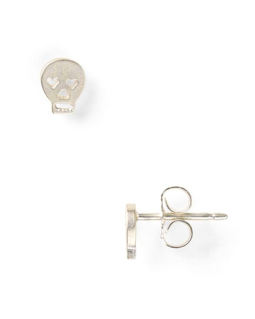 Dogeared | Metallic Little Things Mini Silver Skull Stud Earrings | Lyst