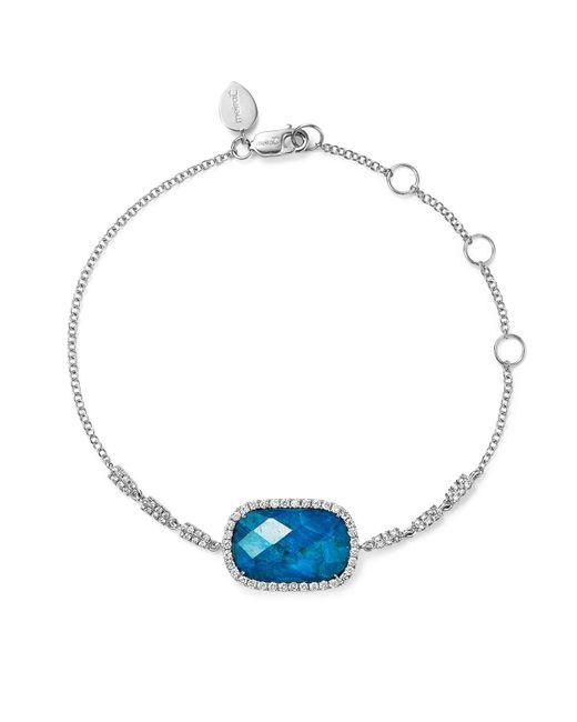 Meira T | Blue 14k White Gold Chrysocolla Doublet And Diamond Bracelet | Lyst