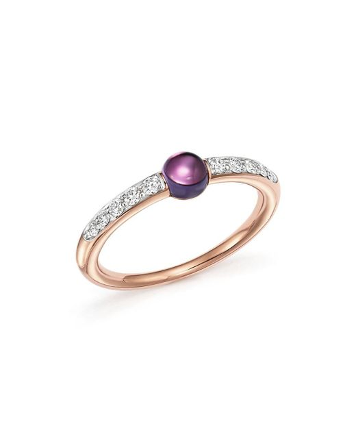 Pomellato Metallic M'ama Non M'ama Ring With Peridot And Brown Diamonds In 18k Rose Gold
