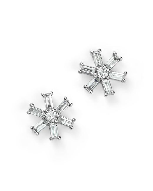 KC Designs - 14k White Gold Diamond Round And Baguette Stud Earrings - Lyst
