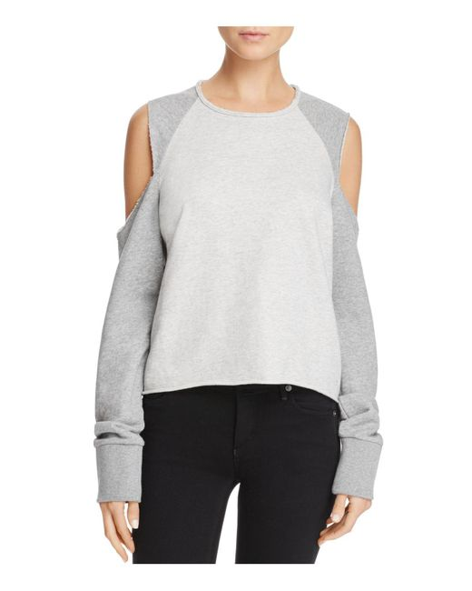 Rag & Bone | Gray Cold-shoulder Sweatshirt | Lyst