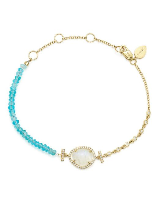 Meira T - Blue Diamond And Neon Apatite Beaded Bracelet - Lyst
