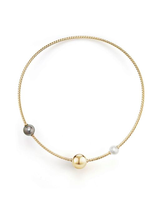 David Yurman | Metallic Solari Single Row Cable Necklace With Tahitian Gray Pearl And South Sea White Pearl In 18k Gold | Lyst