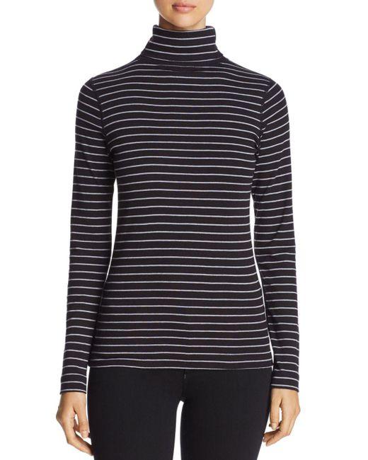 Three Dots - Black Autumn Stripe Turtleneck Top - Lyst