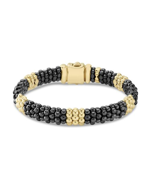 Lagos - Metallic Gold & Black Caviar Collection 18k Gold & Ceramic Beaded Five Station Bracelet - Lyst