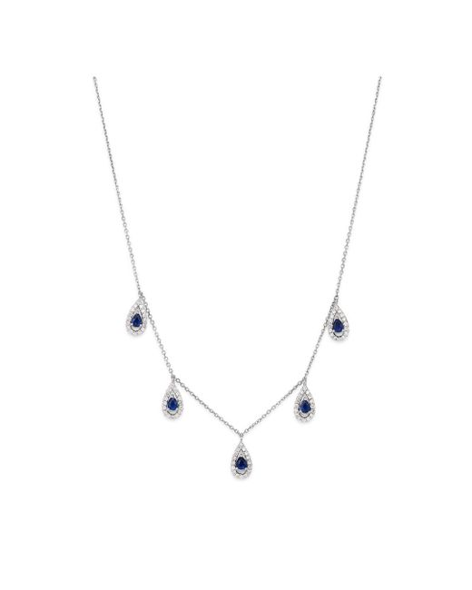 Bloomingdale's - Blue Sapphire & Diamond Drop Necklace In 14k White Gold - Lyst